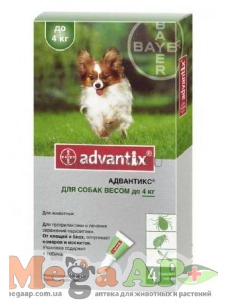 BAYER Advantix для собак вес до 4кг