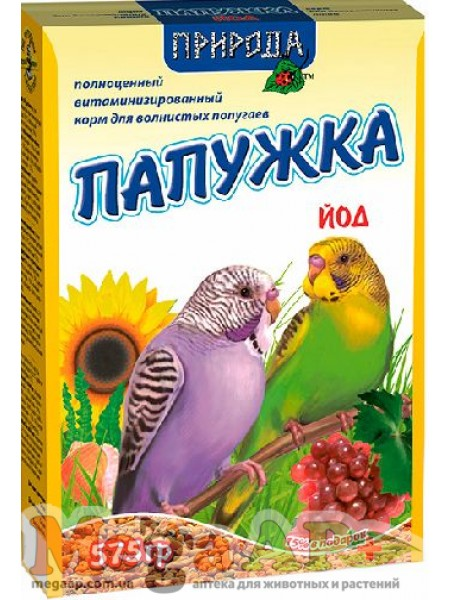 Повседневный корм Природа Папужка Йод  для попугаев  575г