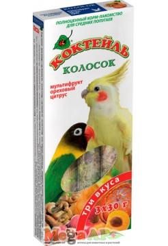 Колосок Коктейль для попугаев Мультифрукт, ореховый, цитрус 90г