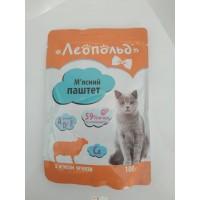 Влажный корм для кошек Леопольд Мясной паштет с мясом ягненка 100 г