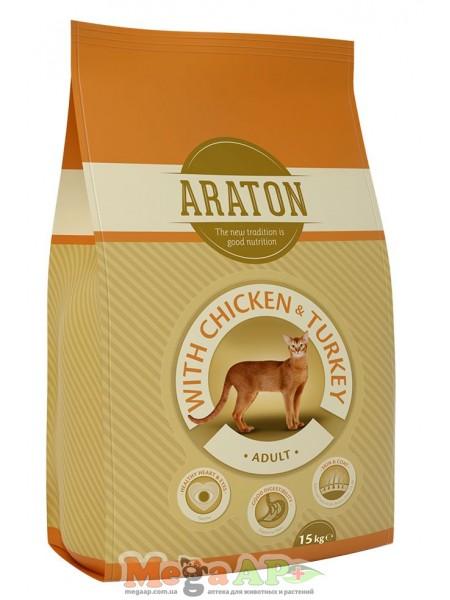 Сухой корм ARATON ADULT CHICKEN & TURKEY для котов с курицей и индюшатиной 1кг