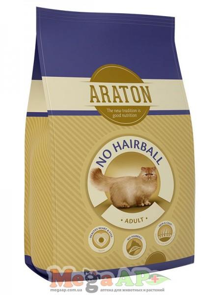 Сухой корм ARATON NO HAIRBALL шерстевыводящий для взрослых кошек 1кг