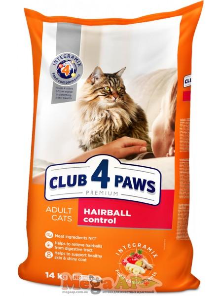 Сухой корм для котов Клуб 4 Лапы интенсивное выведения шерсти Премиум 1кг
