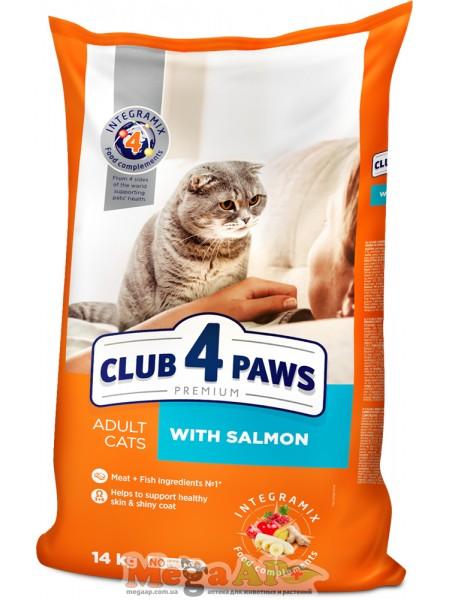 Сухой корм для котов Клуб 4 Лапы с лососем Премиум 1кг